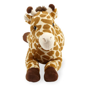 Animal Alley 12 inch Lying Giraffe Plush - Brown/Ivory