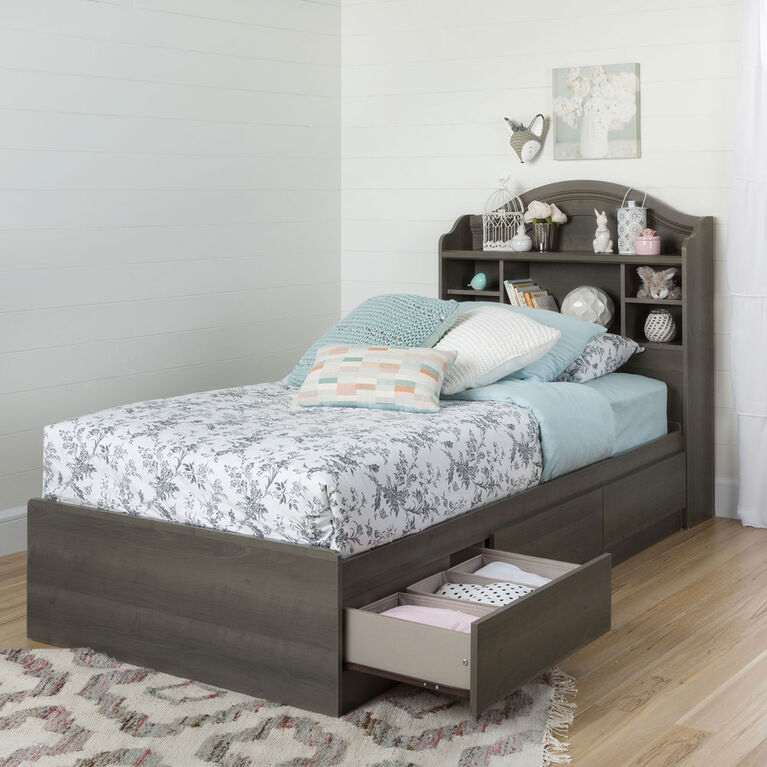 Savannah Bookcase Headboard with Storage- Gray Maple