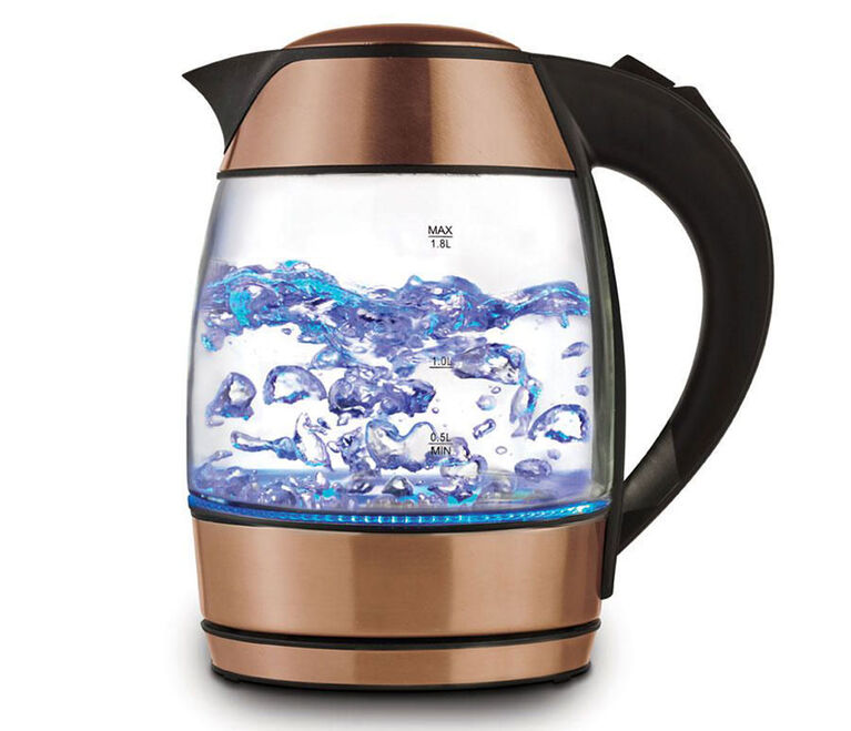 Brentwood 1.8L Electric Glass Kettle with Tea Infuser - Rose Gold