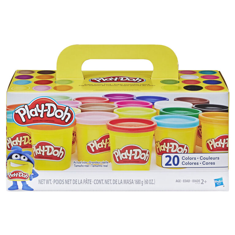 Play-Doh Super Color Pack of 20 Cans - Colours and styles may vary