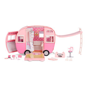 Na Na Na Surprise Kitty-Cat Camper, Pink Camper Vehicle with Cat Ears and Tail, 7 Play Areas including Full Kitchen, Hammock and Accessories