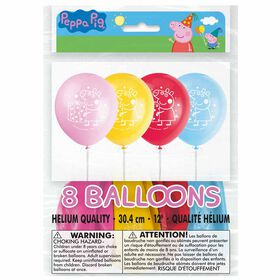"Peppa Pig 12"" Latex Balloons, 8 pieces"