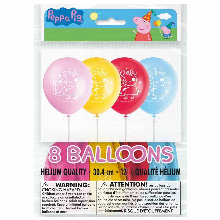 """Peppa Pig 12"""" Ballons, 8un"""