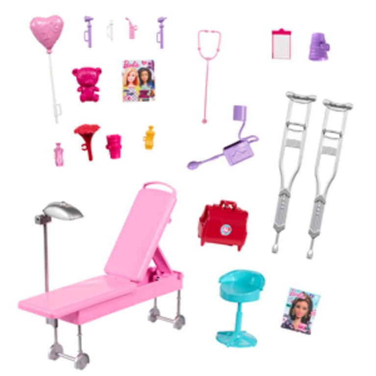 Coffret de jeu Véhicule médical Barbie, plus de 60 cm (2 pi) de largeur avec lumières et sons
