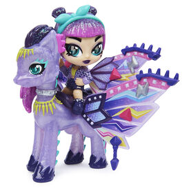 Hatchimals Pixies Riders, Wilder Wings Magical Mel Pixie and Ponygator Glider with 16 Wing Accessories