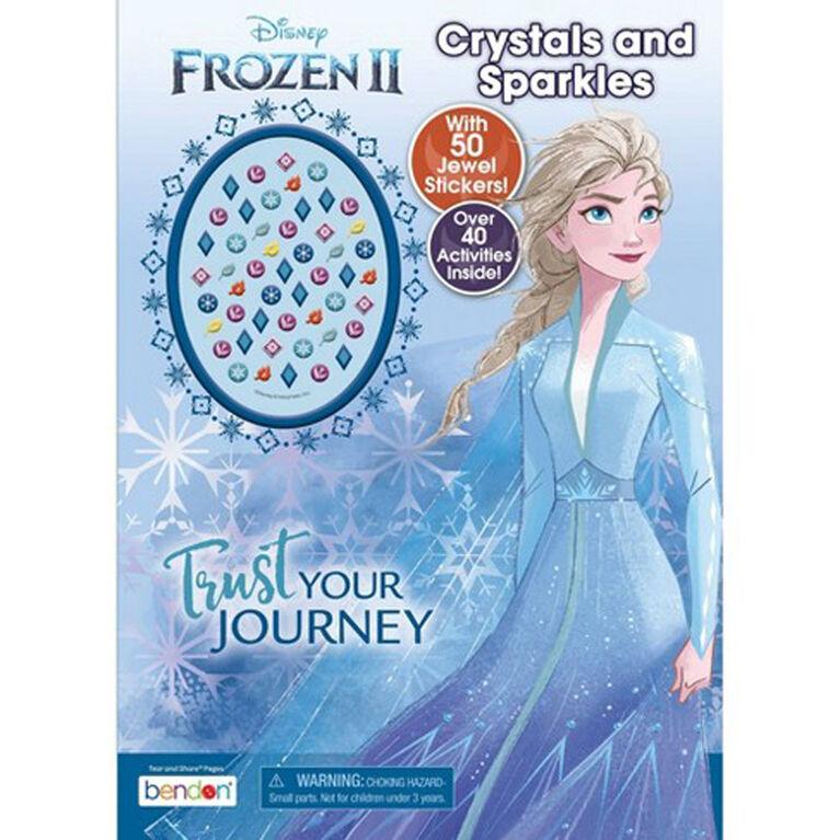 Livre d'activités et de coloriage La Reine des neiges II, avec pierres précieuses autocollantes