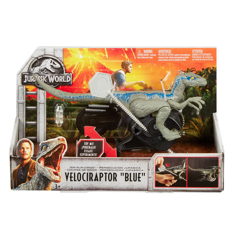 "Jurassic World Rip Run Dinos Velociraptor ""Blue"