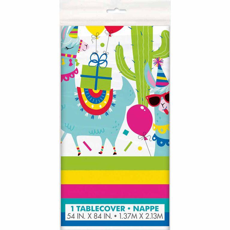 "Llama Bday Plastic table cover 54""x84"""
