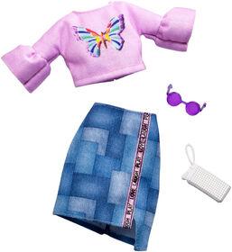 Barbie - Coffret Tenue - Haut Papillon rose et jupe en denim.