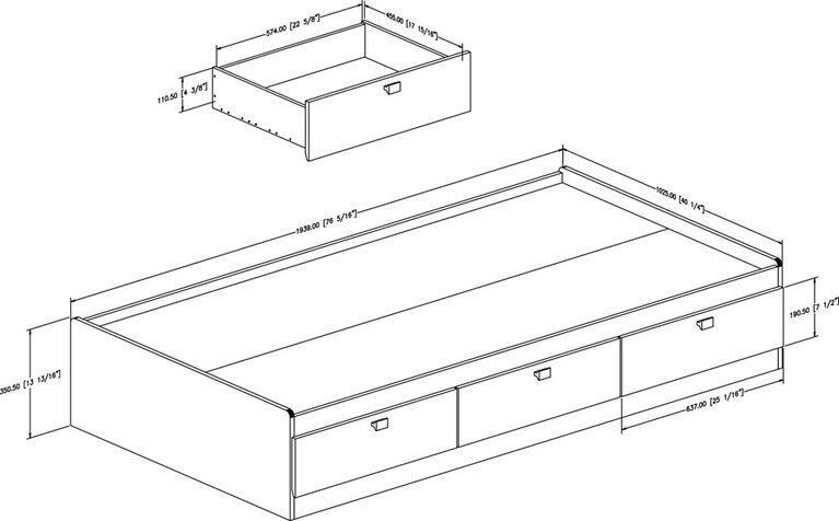 Spark Mate's Platform Storage Bed with 3 Drawers- Pure White