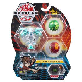 Bakugan Starter Pack 3-Pack, Haos Hyper Dragonoid, Collectible Action Figures