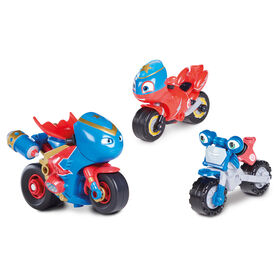 Ricky Zoom: Steel Awesome Adventure Multipack - 3 & 4 Inch Motorcycle Action Figures - Free-Wheeling, Free Standing Toy Bikes for Preschool Play - R Exclusive