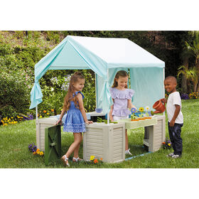 Little Tikes Backyard Bungalow Roleplay Playhouse with pretend kitchen, garden, and canopy