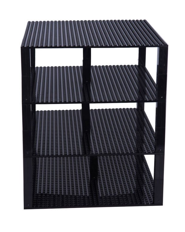 """Strictly Briks - Brik Tower - 10"""" x 10"""" - 32 x 32 pegs - 4 Baseplates & 30 Stackers - Black"""