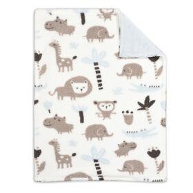 Couverture pour bébé Koala Baby - Animal de la jungle imprimé bleu.