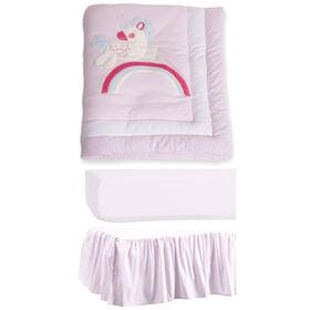 Markethouse Baby 3 Piece Crib Bedding Set- Pink