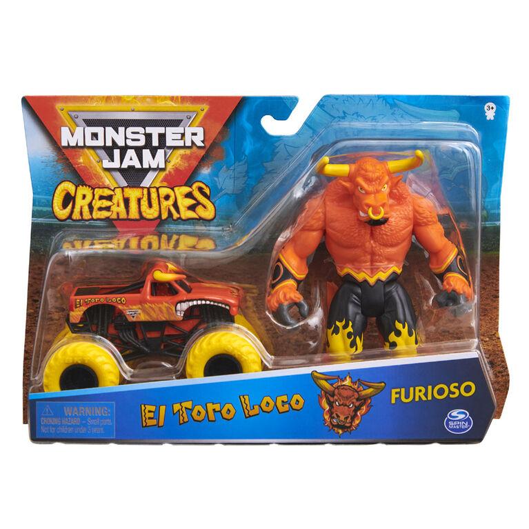 Monster Jam, Coffret Monster truck El Toro Loco à l'échelle 1:64 officiel et figurine articulée Furioso Creatures de 12,7 cm