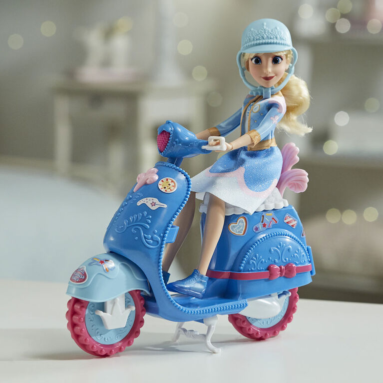 Disney Princess Comfy Squad Cinderella's Sweet Scooter, Fashion Doll with Scooter, Helmet, and Stickers