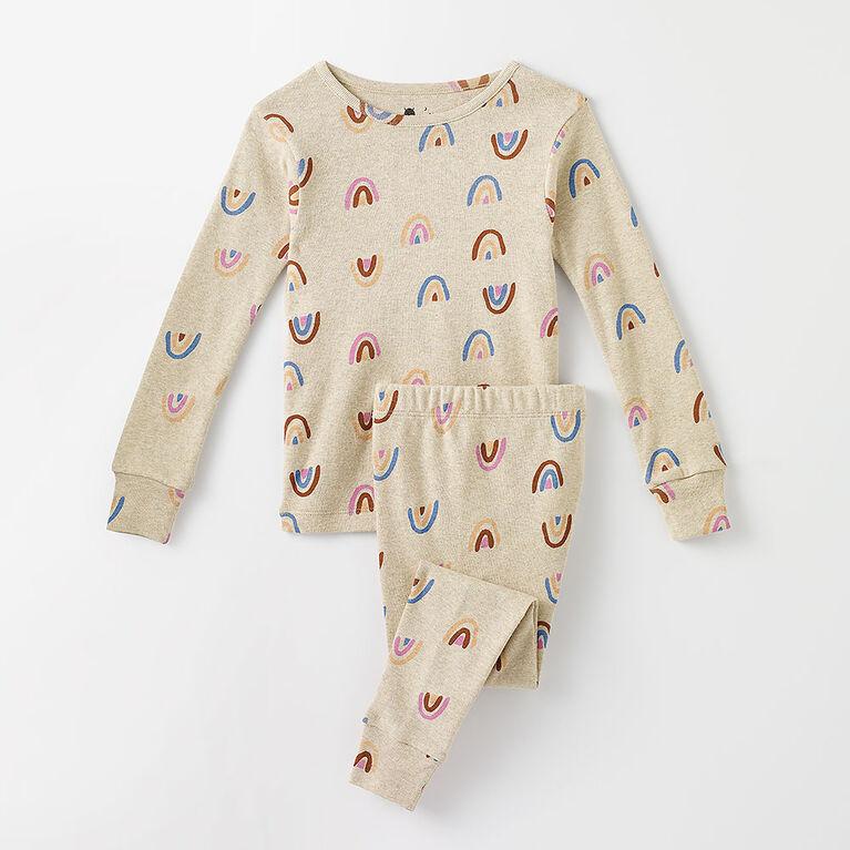 6 ans pyjama deux pièces à manches longues - imprimé avoine chiné