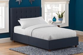 DHP Emily Upholstered Twin Bed - Navy