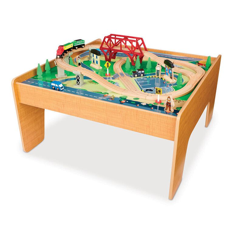 Imaginarium - 55-Piece Rail and Road Train Set with Table