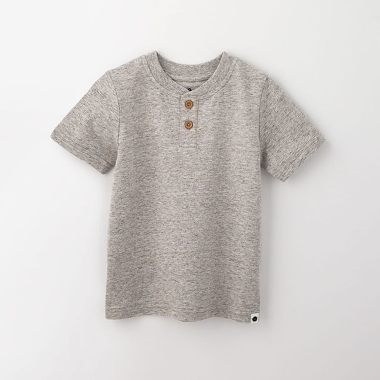 3-4 ans haut henley à manches courtes - gris texturé