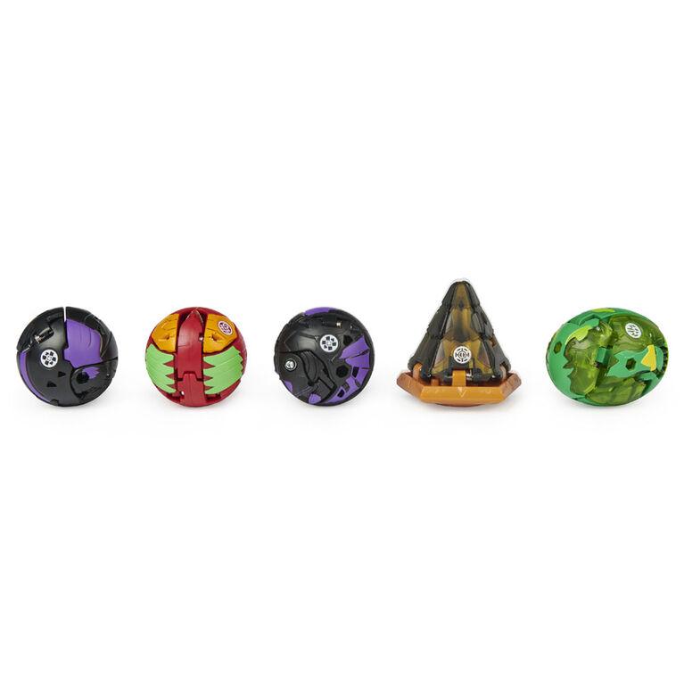 Bakugan, Geogan Brawler Pack de 5, Geogan Mutasect et Stardox exclusifs et 3 figurines articulées à collectionner Bakugan