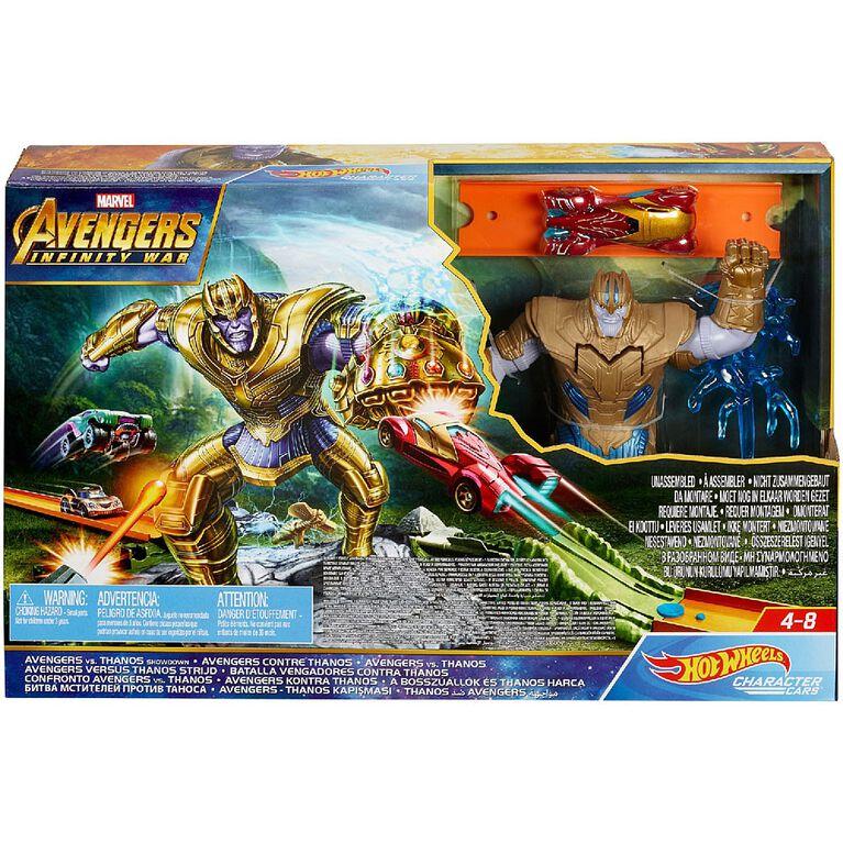 Hot Wheels - Marvel - Coffret de jeu Confrontation Avengers vs Thanos.