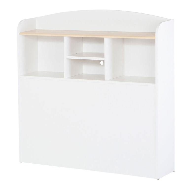 Summertime Bookcase Headboard with Storage- Pure White