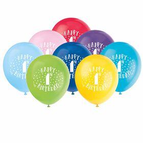 "Fun ""Happy 1st Bday"" 12"" Latex, 8 pieces - English Edition"
