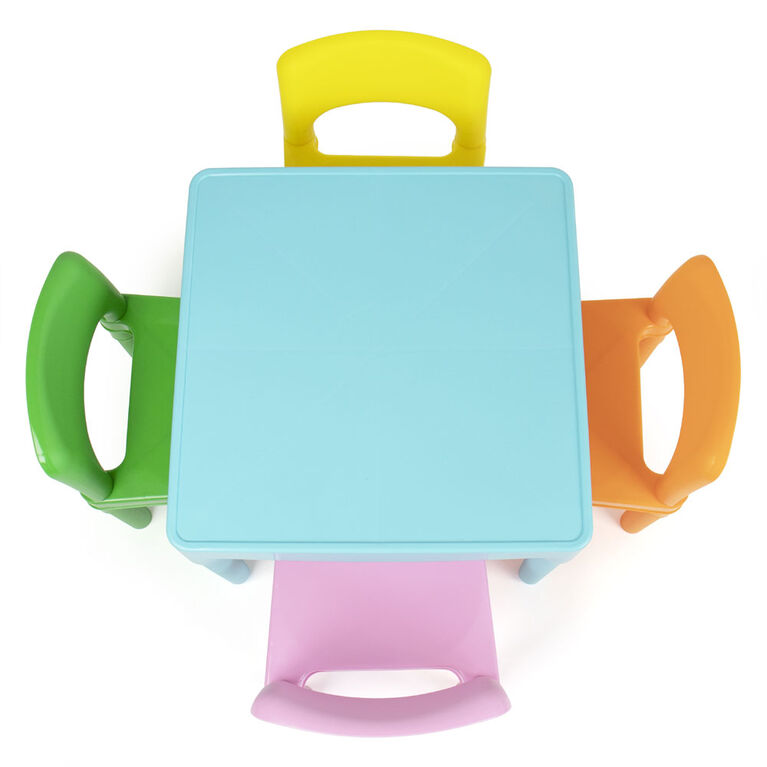 Humble Crew Kids Plastic Table & 4 Chairs, Modern Brights