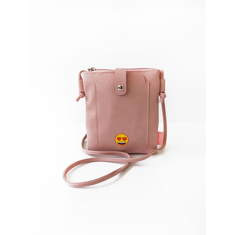 Non-Leather Crossbody Bag with Heart Eye Emoji