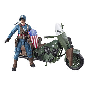 Marvel Legends Series Captain America with Motorcycle, Shield, and Helmet