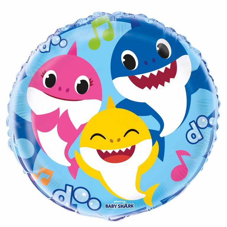 """Ballon aluminium rond, 18 """" - Baby Shark"""