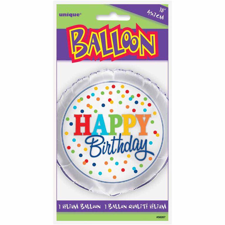 """Ballon aluminium rond, 18 """" - Rainbow Polka Dots - Édition anglaise"""