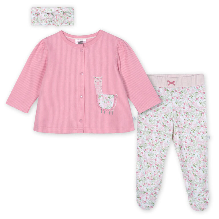 Just Born Baby Girls' 3-Piece Organic Take Me Home Set - Lil' Llama 3-6 months