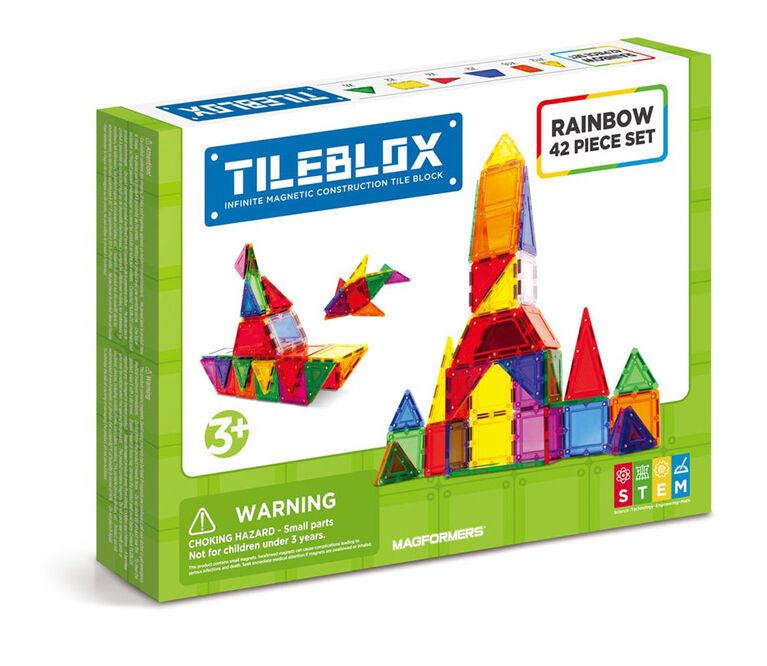 Magformers TileBlox Rainbow 42-Piece Set - English Edition
