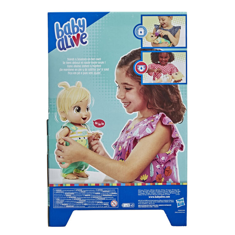 Baby Alive Baby Gotta Bounce Doll, Frog Outfit, Bounces with 25+ SFX and Giggles, Drinks and Wets