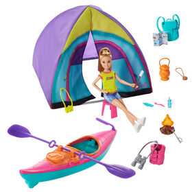 Barbie Team Stacie Doll & Accessories Set with Toy Tent, Kayak & 15+ Pieces
