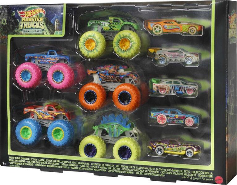 Hot Wheels - Monster Trucks - Coffret 10Véhicules Phosphorescents - Notre exclusivité