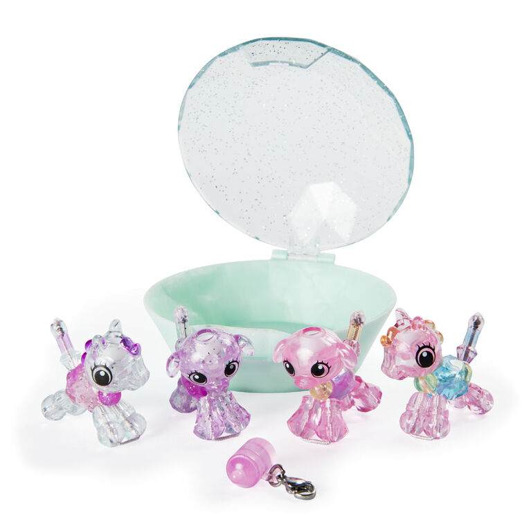 Twisty Petz, Series 2 Babies 4-Pack, Ponies and Puppies Collectible Bracelet and Case (Teal)