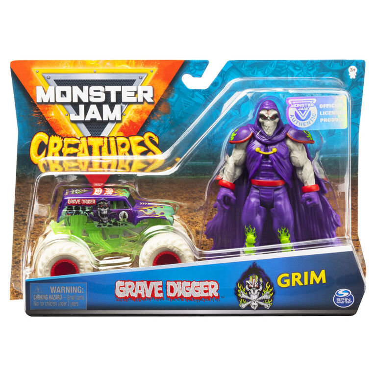 Monster Jam, Official Grave Digger 1:64 Scale Monster Truck and 5-Inch Grim Creatures Action Figure Set