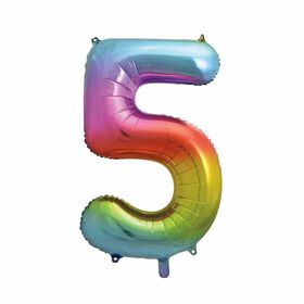 Rainbow Number 5 Shaped Foil Balloon 34""