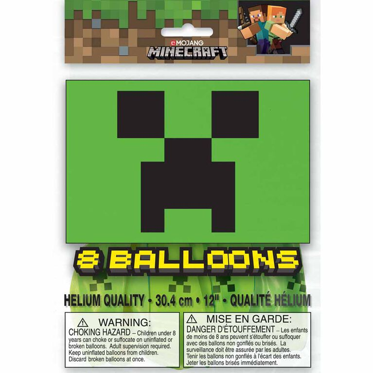 "Minecraft 12"" Latex Balloons 8 pieces"