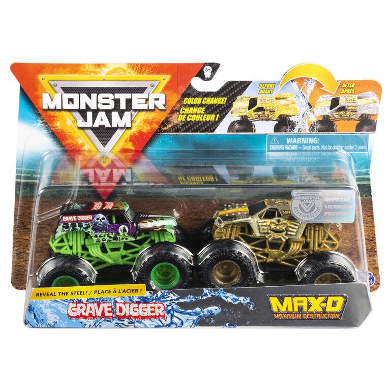 Monster Jam, Official Grave Digger vs. Max D Color-Changing Die-Cast Monster Trucks, 1:64 Scale