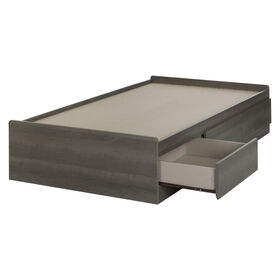 Savannah Mates Bed with 3 Drawers- Gray Maple