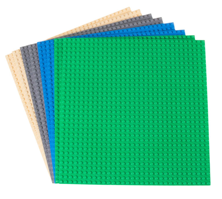 """Strictly Briks - Stackable Baseplates - 10"""" x 10"""" - 32 x 32 pegs - 8 Baseplates - Blue, Gray, Green, Sand"""