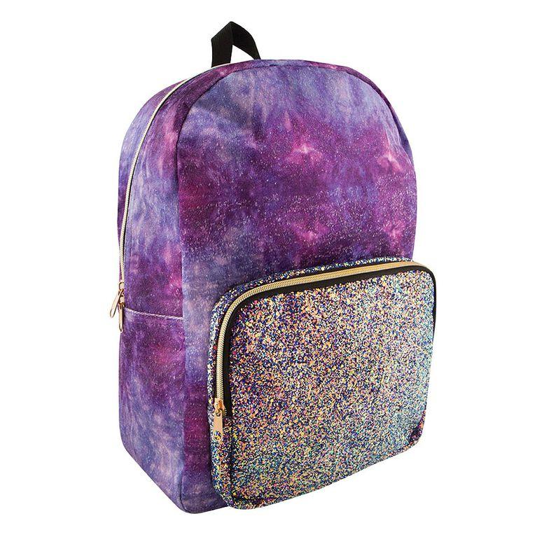 Style Lab Crushed Velvet/Chunky Glitter Backpack