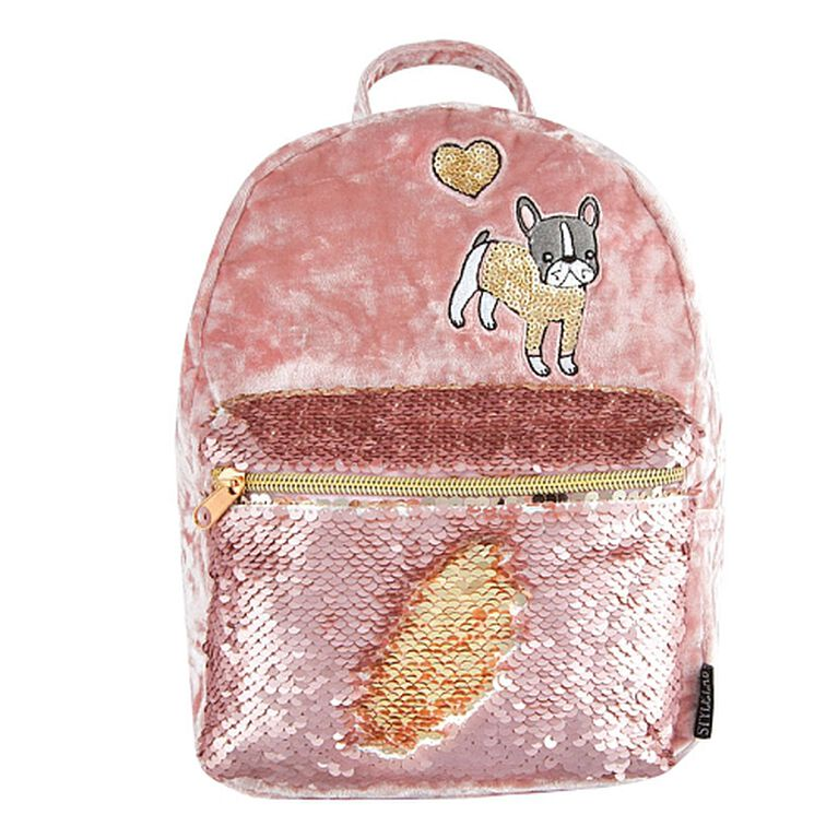 Crushed Velvet/MSequin Pocket Mini Backpack-Pink
