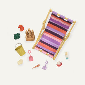 Our Generation, Day At The Beach, Beach Chair Accessory Set for 18-inch Dolls